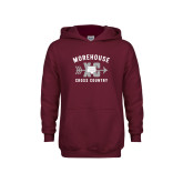 Youth Maroon Fleece Hoodie-Cross Country Graphic