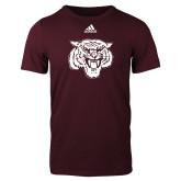 Adidas Maroon Logo T Shirt-Mascot Logo