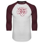 White/Maroon Raglan Baseball T Shirt-Mascot Logo