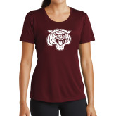 Ladies Performance Maroon Tee-Mascot Logo