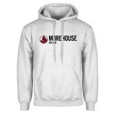 White Fleece Hoodie-Morehouse College Logo