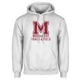 White Fleece Hoodie-Morehouse Track and Field