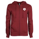 ENZA Ladies Maroon Fleece Full Zip Hoodie-Mascot Logo
