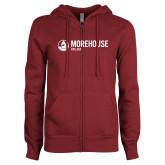 ENZA Ladies Maroon Fleece Full Zip Hoodie-Morehouse College Logo
