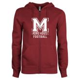 ENZA Ladies Maroon Fleece Full Zip Hoodie-Morehouse Football