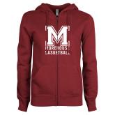 ENZA Ladies Maroon Fleece Full Zip Hoodie-Morehouse Basketball