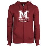 ENZA Ladies Maroon Fleece Full Zip Hoodie-Morehouse Baseball