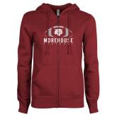ENZA Ladies Maroon Fleece Full Zip Hoodie-Football Graphic