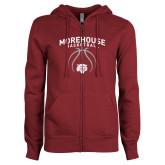 ENZA Ladies Maroon Fleece Full Zip Hoodie-Basketball Graphic
