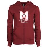 ENZA Ladies Maroon Fleece Full Zip Hoodie-Morehouse Alumni