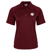 Ladies Maroon Textured Saddle Shoulder Polo-Mascot Logo