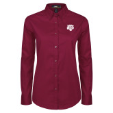 Ladies Maroon Twill Button Down Long Sleeve-Mascot Logo