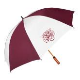 62 Inch Maroon/White Vented Umbrella-Mascot Logo