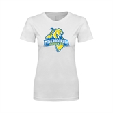 Next Level Ladies SoftStyle Junior Fitted White Tee-Misericordia Official Logo