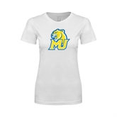 Next Level Ladies SoftStyle Junior Fitted White Tee-MU w/Cougar Head