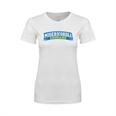 Next Level Ladies SoftStyle Junior Fitted White Tee-Arched Misericordia Cougars