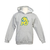 Youth Grey Fleece Hood-MU w/Cougar Head
