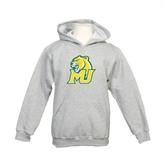 Youth Grey Fleece Hood-MU w/Cougar Head