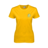 Ladies Gold T Shirt-MU w/Cougar Head