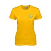 Ladies Gold T Shirt-MU w/Cougar Head