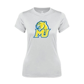 Ladies Syntrel Performance White Tee-MU w/Cougar Head
