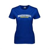 Ladies Royal T Shirt-Arched Misericordia Cougars Wordmark