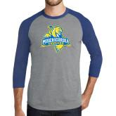 Grey/Royal Heather Tri Blend Baseball Raglan-Misericordia Official Logo