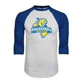 White/Royal Raglan Baseball T Shirt-Misericordia Official Logo