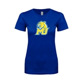 Next Level Ladies SoftStyle Junior Fitted Royal Tee-MU w/Cougar Head