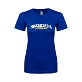 Next Level Ladies SoftStyle Junior Fitted Royal Tee-Arched Misericordia Cougars Wordmark