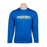 Performance Royal Longsleeve Shirt-Arched Misericordia Cougars Wordmark