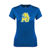 Ladies Syntrel Performance Royal Tee-MU w/Cougar Head