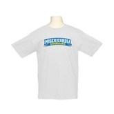 Youth White T Shirt-Arched Misericordia Cougars