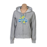 ENZA Ladies Grey Fleece Full Zip Hoodie-Misericordia Official Logo