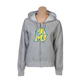 ENZA Ladies Grey Fleece Full Zip Hoodie-MU w/Cougar Head