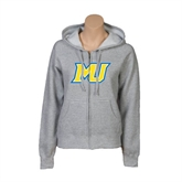 ENZA Ladies Grey Fleece Full Zip Hoodie-MU