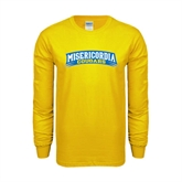 Gold Long Sleeve T Shirt-Arched Misericordia Cougars