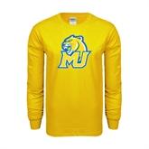 Gold Long Sleeve T Shirt-MU w/Cougar Head