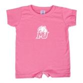 Bubble Gum Pink Infant Romper-MU w/Cougar Head