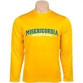 Performance Gold Longsleeve Shirt-Arched Misericordia Cougars Wordmark