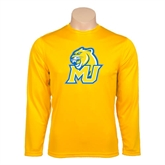 Performance Gold Longsleeve Shirt-MU w/Cougar Head