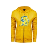 ENZA Ladies Gold Fleece Full Zip Hoodie-MU w/Cougar Head