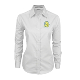 Ladies White Twill Button Down Long Sleeve-MU w/Cougar Head
