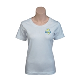 Ladies White Stretch Scoop Neck-Misericordia Official Logo