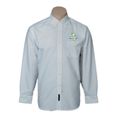Mens White Oxford Long Sleeve Shirt-Misericordia Official Logo