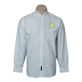 Mens White Oxford Long Sleeve Shirt-MU w/Cougar Head