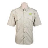 Khaki Short Sleeve Performance Fishing Shirt-MU