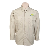 Khaki Long Sleeve Performance Fishing Shirt-MU