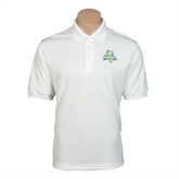 White Dry Mesh Polo-Misericordia Official Logo