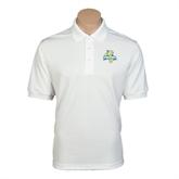 White Dry Mesh Polo-Misericordia Official Logo